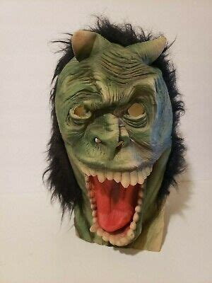 Vintage Halloween Mask Latex Rubber Green Monster with
