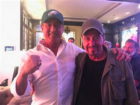 Stallone and Paterno actor Al Pacino cheer after Eagles