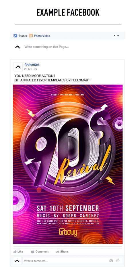 90s Revival Flyer Template + GIF Animation Action by