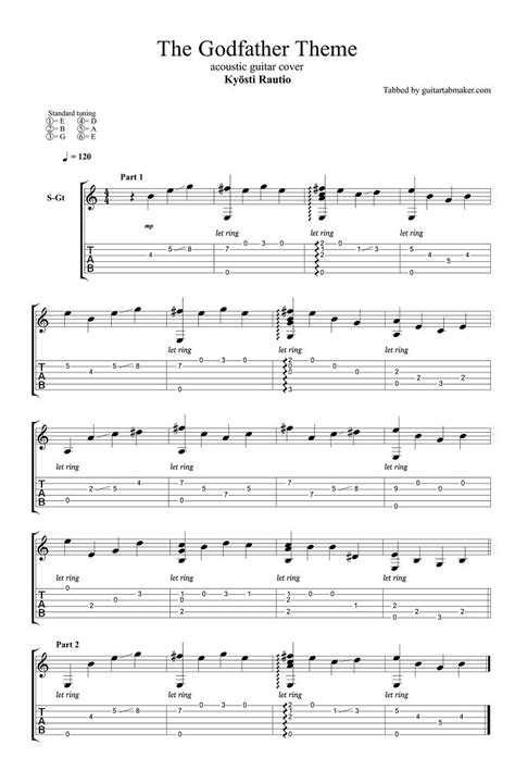 The Godfather theme easy fingerstyle guitar tab - pdf