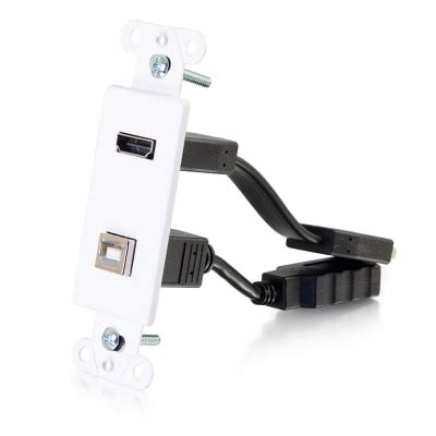 HDMI and USB Pass Through Wall Plate - White | C2G