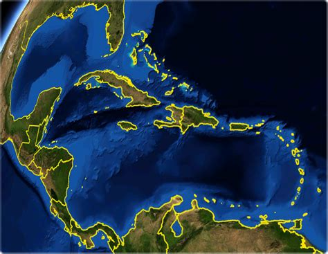 Central America and Caribbean - Satellite Image
